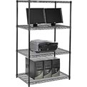 "Wire shelf Computer LANstation workstation 63""Hx24""Wx36""L, Black, 4-Shelf"