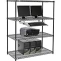 "Nexel™ 4-Shelf Wire Computer LAN Workstation with Keyboard Tray, 48""W x 24""D x 63""H, Black"
