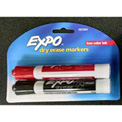 Expo Chisel Low Odor Dry Erase Marker, 2/Pack, Black & Red