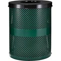 Global™ Thermoplastic Coated 32 Gallon Perforated Receptacle w/Flat Lid - Green
