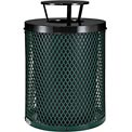 Global™ Thermoplastic Coated 32 Gallon Mesh Receptacle w/Rain Bonnet Lid - Green
