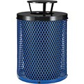 Global Industrial™ Thermoplastic Coated 32 Gallon Mesh Receptacle w/Rain Bonnet Lid - Blue