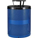 Global Industrial™ Thermoplastic 32 Gallon Perforated Receptacle w/Rain Bonnet Lid - Blue