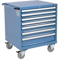 "Global Mobile Modular Drawer Cabinet, 7 Drawers, w/Lock, w/o Dividers, 30""Wx27""Dx36-7/10""H Blue"