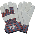 "Leather Palm Safety Gloves with 2-1/2"" Safety Cuff, Large, 1 Pair - Pkg Qty 12"