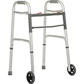 "Global™ Portable Folding Walker with 5"" Wheels, Silver"