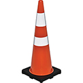 "36"" Traffic Cone, Reflective, Black Base, 10 lbs"