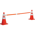 Global Industrial Retractable Cone Bar , Orange With Reflective Tape, 5 ' to 8'