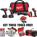 Milwaukee M18™ Cordless Buy 2696-24 Tool Kit Get 4 Tools Free!! Special Buy Li-Ion Combo Tool Kit