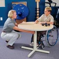 Gas Spring-Assist Height Adjustable Round Therapy Table - Maple