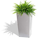 Self Watering Square Modena Planter, Gloss White, 22""