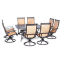 Hanover Manor 9-Piece Outdoor Dining Set w/ Large Square Table & Eight Swivel Rockers, Cedar