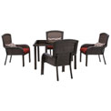 """Hanover Strathmere 5-Piece Dining Set w/ 48"""" Square Table, Crimson Red"""