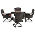"""Hanover Strathmere 5-Piece Swivel Dining Set w/ 48"""" Square Table, Crimson Red"""