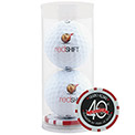 Promotional 2 Ball Tube w/Poker Chip Ball Marker
