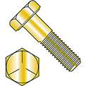 "Hex Cap Screw - 1/4-20 x 1/2"" - Carbon Steel - Zinc Yellow CR+6 - Grade 5 - FT - UNC - 100 Pack"