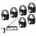 HamiltonBuhl Wireless Listening Center, 6 Station w/ Headphones & Transmitter, Multi Frequency