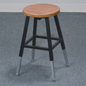 Lab Stool - Wood - Adjustable Height - Black