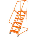 "Grip 16""W 5 Step Steel Rolling Ladder 14""D Top Step W/ Handrails - Orange - FSH518G-O"