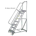 "11 Step 24""Wx96""D Stainless Steel Rolling Safety Ladder - Serrated Grating"