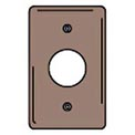 Bryant NPJ7 Single Receptacle Plate, 1-Gang, Mid-Size, Brown Nylon, 1.40 open