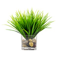 Creative Displays Green Grass In Square Vase With Rocks