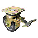 "Albion Yellow Zinc Chromate Finish Caster- 6"" x 2"" Rubber Tread Wheel - Swivel with Brake"