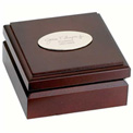 Personalized Mahogany Wood Box Desk Compass