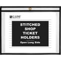 C-Line Products Shop Ticket Holders, Stitched, Both Sides Clear, Open Long Side, 12 x 9, 25/BX