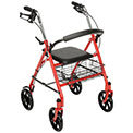 "Drive Medical 10257RD-1 Durable 4-Wheel Rollator with 7.5"" Casters, Red"