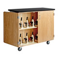 Diversified Woodcrafts Mobile Science Microscope Storage Cabinet - Oak with Black Top