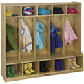 "ECR4Kids® 5-Section Birch Coat Locker with Bench, 54""W x 13""D x 48""H"