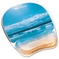 Fellowes® 9179301 Photo Gel Mouse Pad Wrist Rest, Sandy Beach - Pkg Qty 4