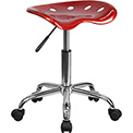 Flash Furniture Desk Stool - Backless - Plastic - Red