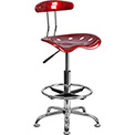 Desk Stool with Back - Plastic - Red