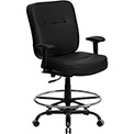 Hercules Big & Tall Drafting Stool with Armrest - Leather - Black