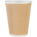 Genuine Joe GJO11260PK - Rippled Hot Cups, 12 Oz., 25/Pack, Brown