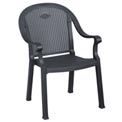 Grosfillex® Sumatra Classic Outdoor Armchair -  Charcoal (Sold in Pk. Qty 4) - Pkg Qty 4