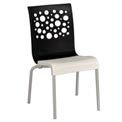 Grosfillex® Tempo Chair, Black / White  4 Pack - Pkg Qty 4
