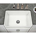"""Houzer PTS-4100 WH 30"""" Apron Front Fireclay Single Bowl Kitchen Sink, White"""