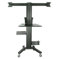 "TygerClaw LCD8507 Mobile PC Cart with Screen Mount for 30""-60"" Monitors - Black"