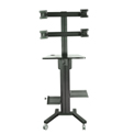 TygerClaw LVW8607 Mobile Quad Monitor TV Stand with PC Holder - Black