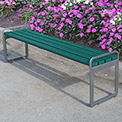 Jayhawk Plastics Recycled Plastic 6 ft. Plaza Backless Bench - Silver Frame with Green Slats