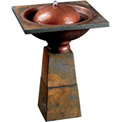 "Kenroy Lighting, Cauldron Birdbath Fountain, 50021SL, Slate Finish, Resin, 22"" H"