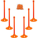 "Plastic Stanchion Kit - Orange -6pk 50' of 2"" Chain W/ C-Hooks Incl. - 2"" Pole, 14"" Base, 41""H"