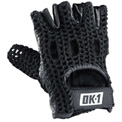 OccuNomix Classic Knuckle Lifters Half-finger Gloves, Full-Grain Leather, Black, M, 1 Pair