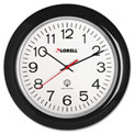 "Lorell® 13.5"" Round Radio Controlled Wall Clock, Plastic Case, Black"