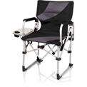Picnic Time Meta Chair w/ Side Table, Cup Holder, & Pocket 400 Lbs Capacity Black/Gray