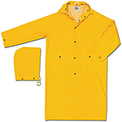 MCR Safety 200CL Classic Rain Coat, .35mm, PVC/Polyester, Detachable Hood, Yellow, Large