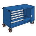 "Rousseau 5 Drawer Heavy-Duty Double Mobile Modular Drawer Cabinet -60""Wx27""Dx37-1/2""H Avalanche Blue"